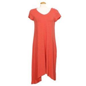 Eileen Fisher V-Neck Asymmetric Hem Midi Dress XS